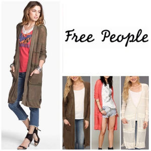 Free People Long Cardigan Maxi Oversized Sz XS
